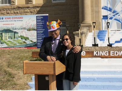 Mayor Nenshi Wears Hard Hat Designed by Willow Park Student for Arts Hub Groundbreaking Ceremony