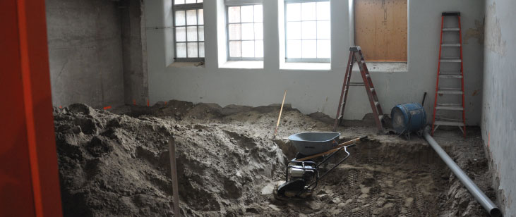 Former boys washroom being excavated