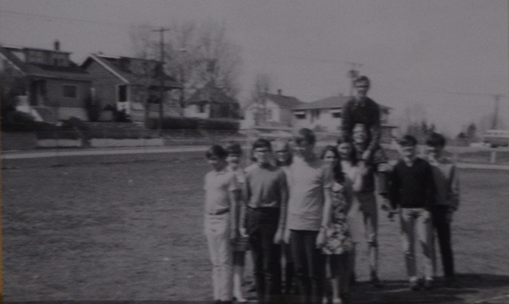 1960s students recreate Cadet formation on grounds of King Edward School. Long Live the King Yearbook.