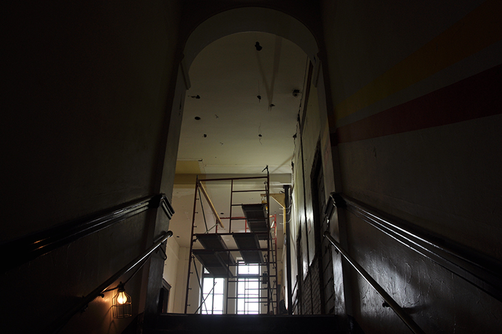 Scaffold above landing of historic boys staircase