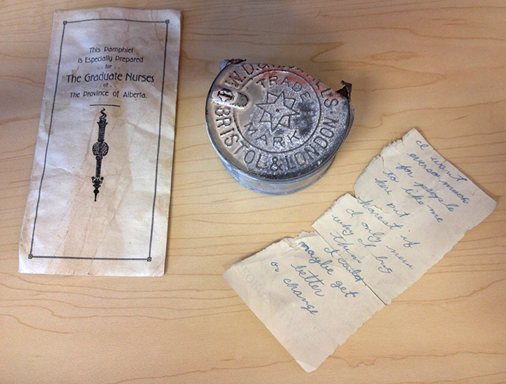 Salvaged ephemera from between walls at King Edward