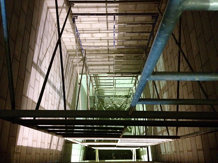 Looking down elevator shaft