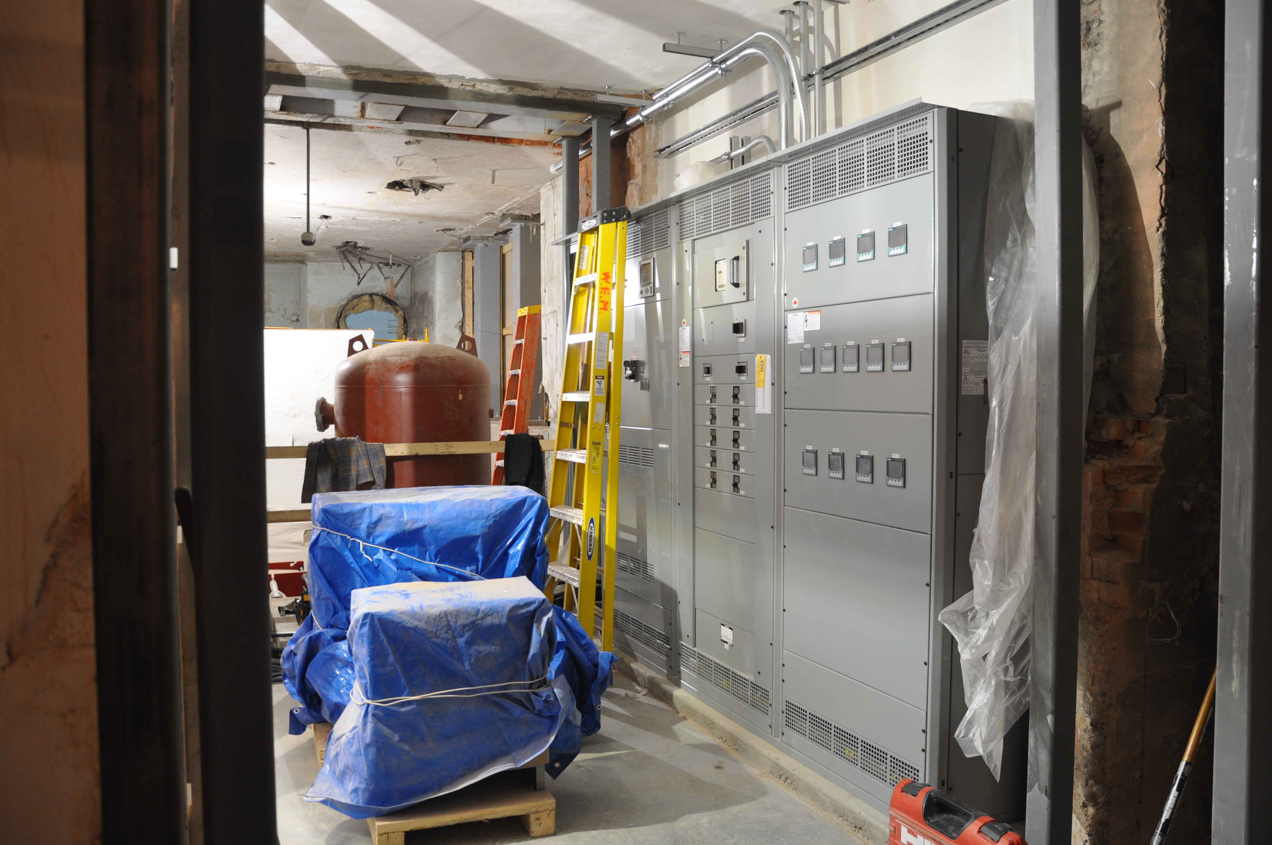 Electrical panels await full energization