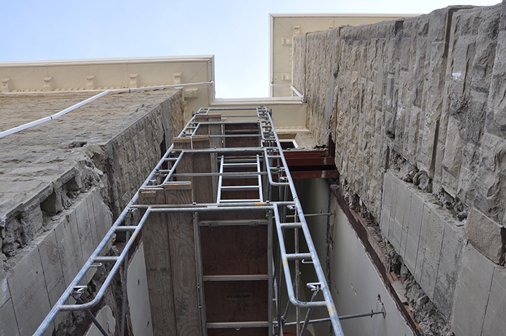 Scaffold for repair to northeast entry