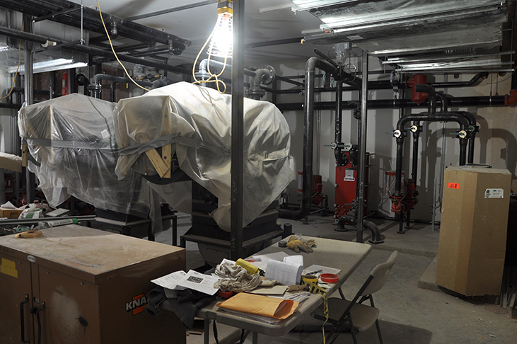 New mechanical room with high efficiency boilers