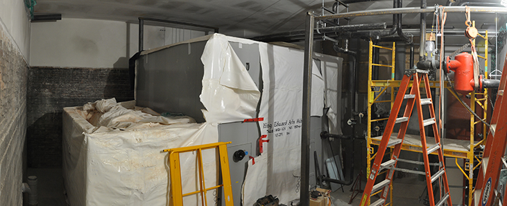 New HRV under wrap in historic boiler room