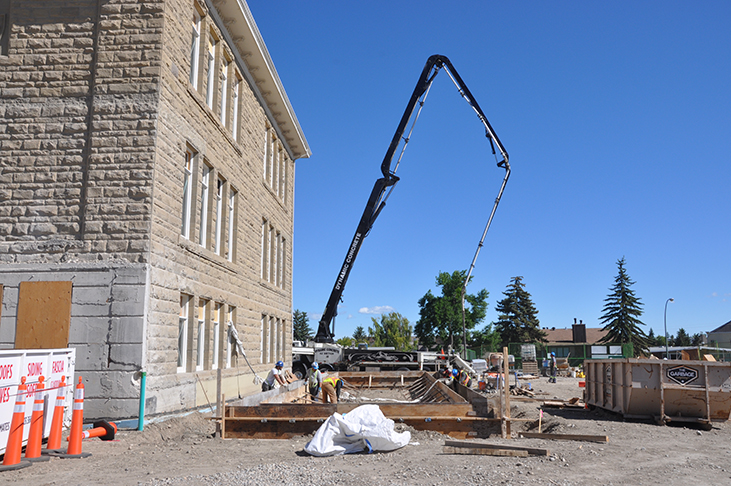 Concrete pour along east side of King Edward School