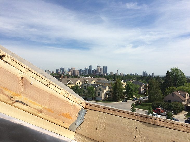 View to downtown from new skylight frame