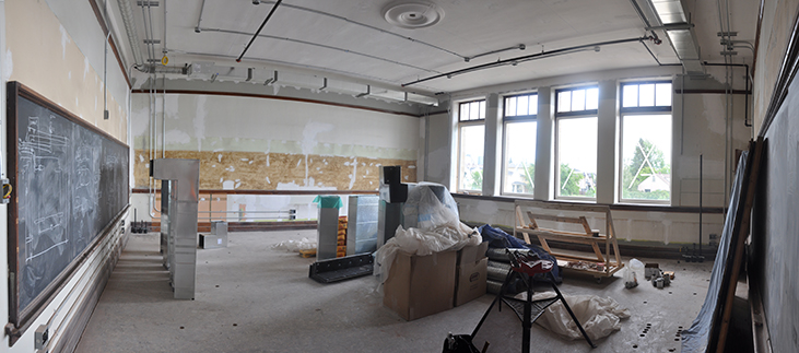 Upper Montessori space with new storm windows in place